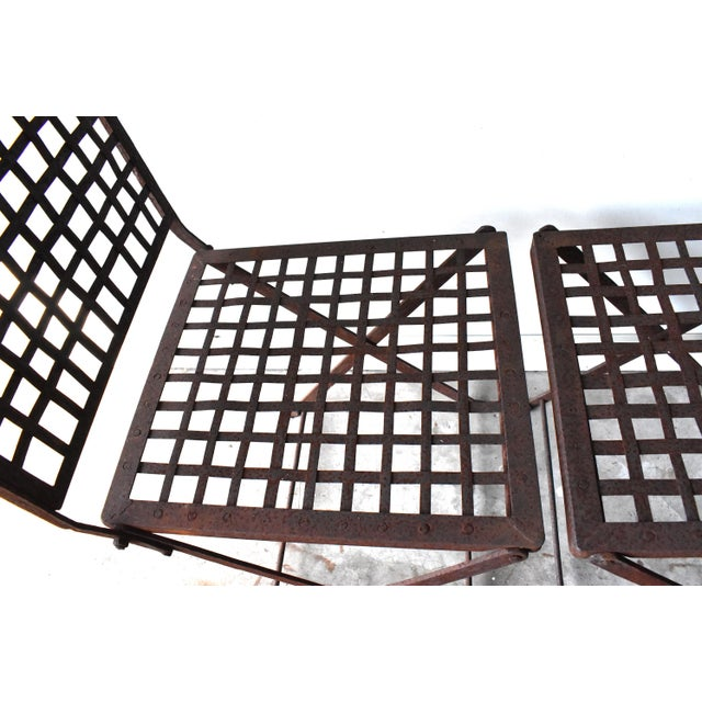 Gray Vintage 1940s Wrought Iron Folding Garden Chairs - a Pair For Sale - Image 8 of 11