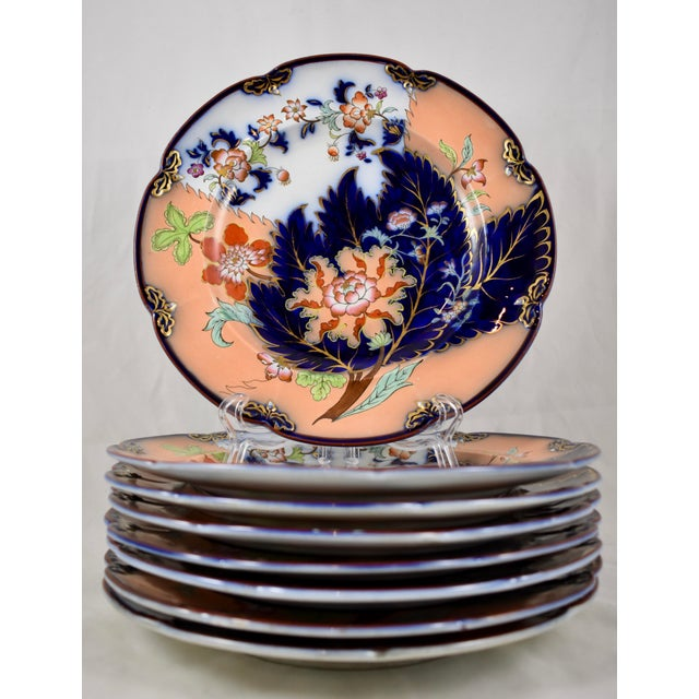 Mid 19th C. John Ridgway English Chinoiserie Style Imari Floral Plates, S/8 For Sale - Image 9 of 13