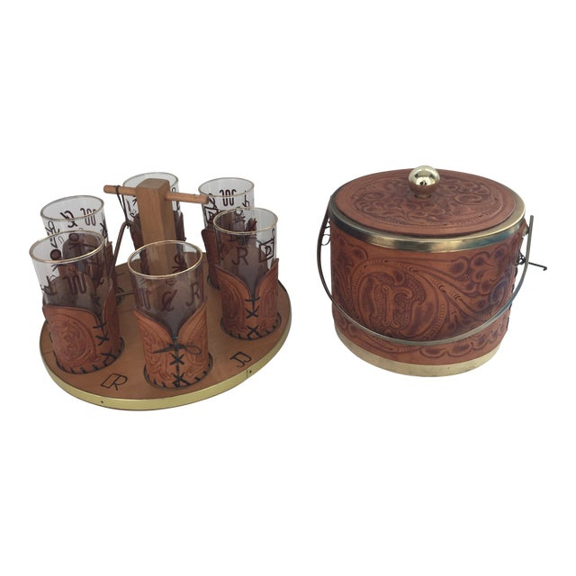 Custom M. L. Leddy HandTooled Leather Western Drink Set With Ice Bucket and Caddy For Sale