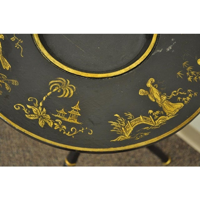 Black Antique Victorian English Decorated Faux Bamboo Tripod Occasional Side Table For Sale - Image 8 of 11
