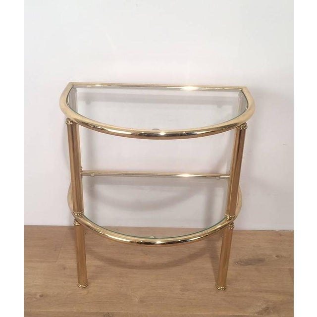 Pair of French Demi Lune Shaped Brass Side Tables For Sale In New York - Image 6 of 10