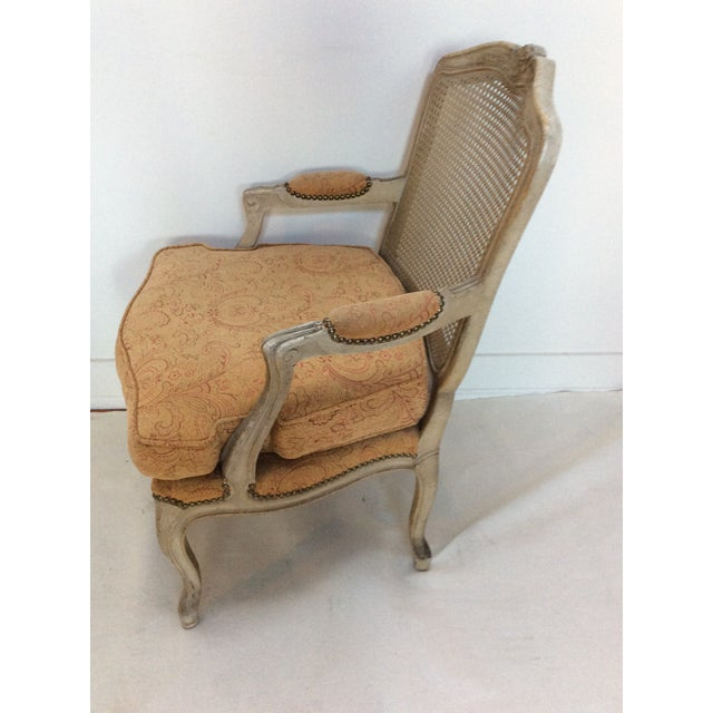 French Style Armchair With Caned Back For Sale - Image 5 of 6