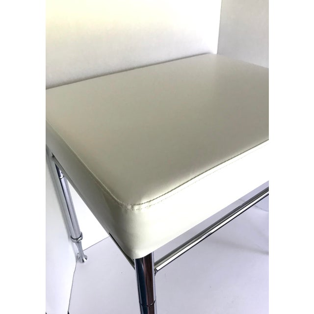 Chrome & Faux White Leather Ottoman/Stool - Image 2 of 4