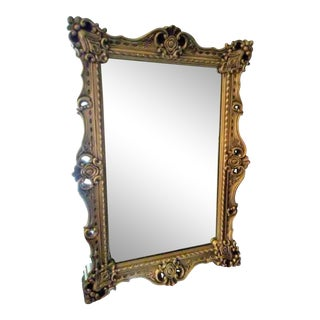 Antique Ornate Gilded Rococo Style Rectangular Mirror For Sale