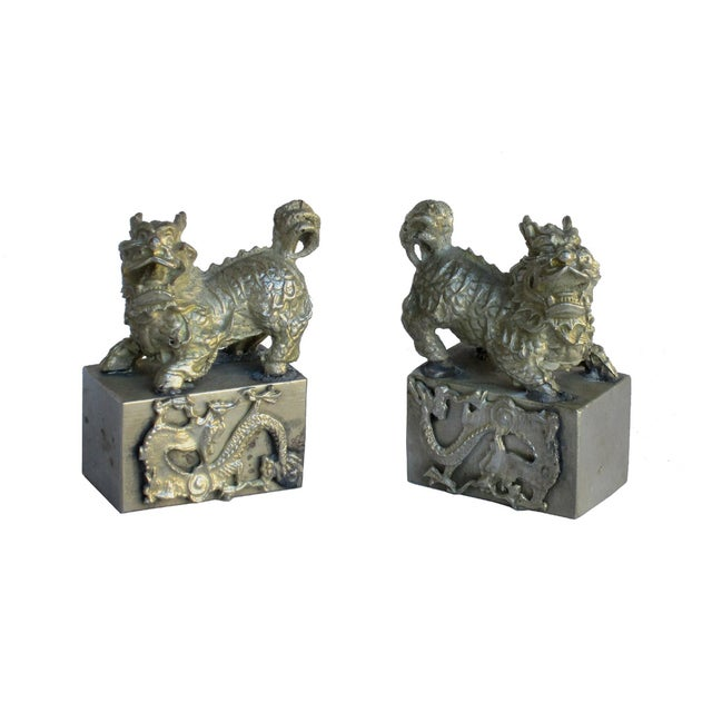 Chinese Mini Silver Metal Foo Dogs - Pair - Image 1 of 6