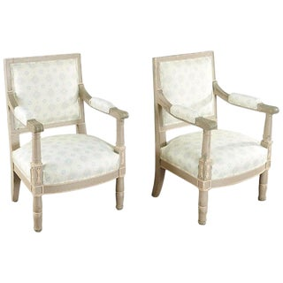 Pair of 19th Century Gustavian Swedish Paint Decorated Arm Chairs For Sale
