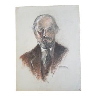 1934 C. Emerson Urion Gentleman Charcoal Drawing For Sale