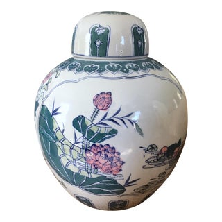 Bird and Flower Hand Painted Ginger Jar For Sale