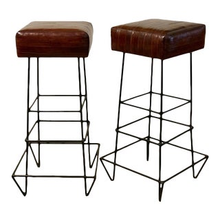 Mid-Century Modern Eel Skin Frederick Weinberg Iron Bar Stools- a Pair For Sale