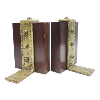Vintage Brutalist Wood and Brass Bookends - A Pair For Sale