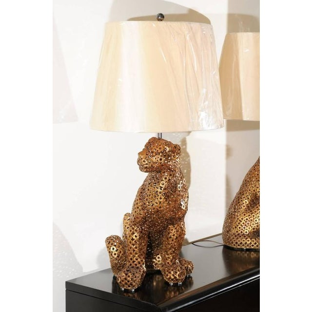 Astonishing Pair of Welded Steel Panthers as Custom Lamps For Sale - Image 9 of 11
