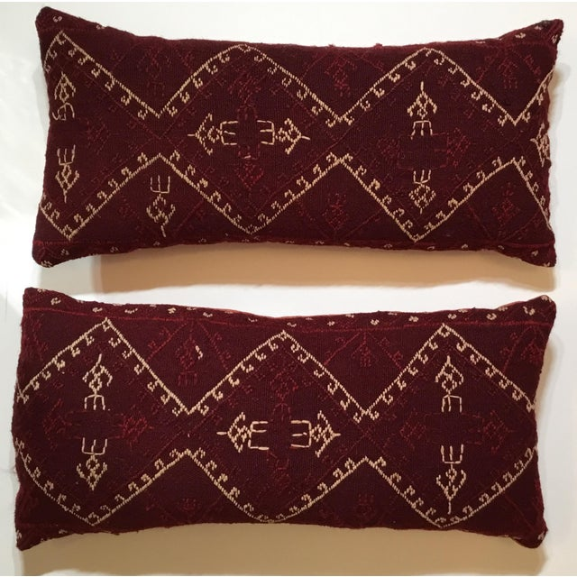 Beautiful pair of pillows made of vintage Hand Embroidery textile,primitive geometric motif on a wine color...