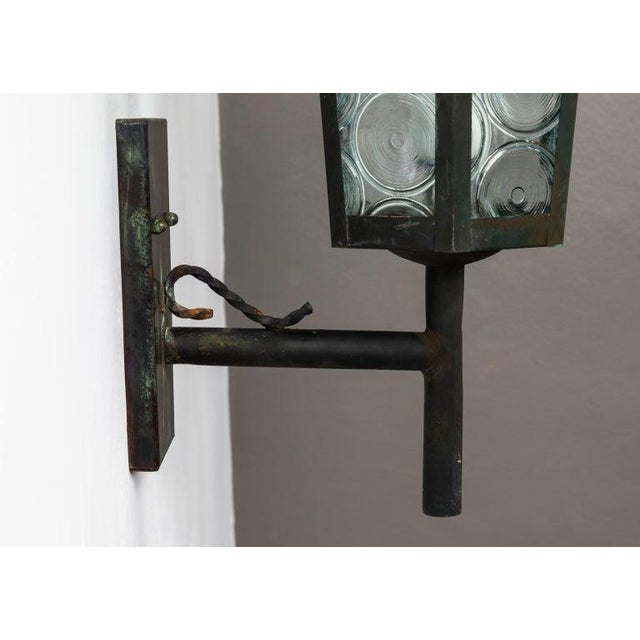 Metal 1950s Large Scandinavian Outdoor Wall Lights in Patinated Copper and Glass - a Pair For Sale - Image 7 of 13