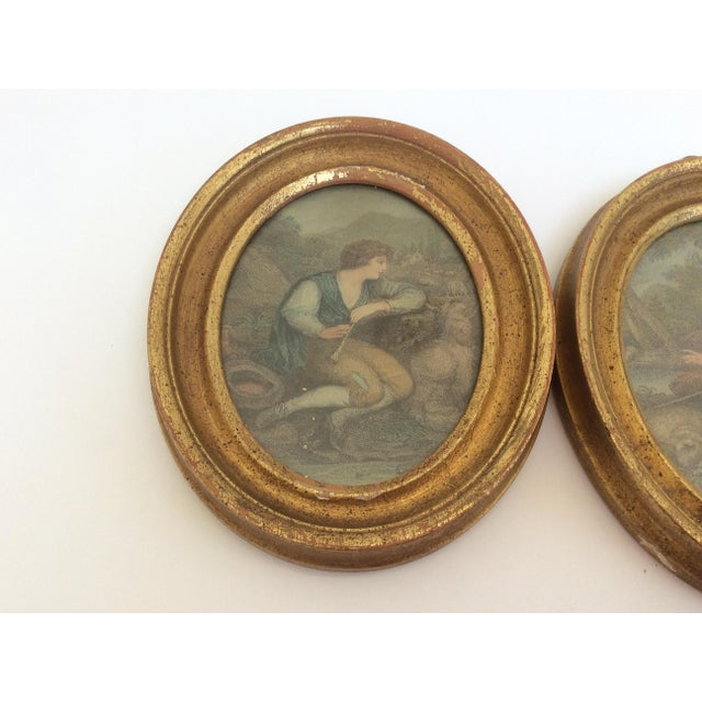 Wood Antique Oval Framed Antique Mezzotints - A Pair For Sale - Image 7 of 9