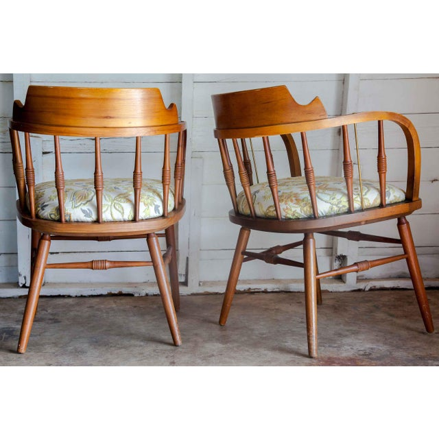Mid-Century Modern 1950s Vintage Drexel Barrel Dining Office Accent Arm Chairs- Pair For Sale - Image 3 of 13