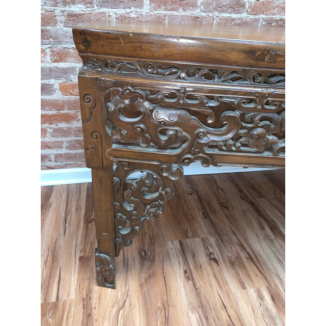 Wood Antique Chinese Carved Writing Desk For Sale - Image 7 of 9