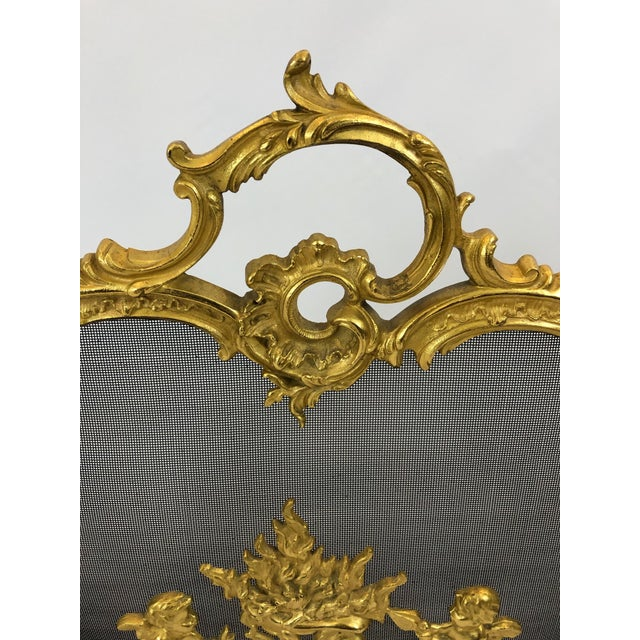 1950s Bronze Dore Fireplace Screen With Putti, 1950s For Sale - Image 5 of 11
