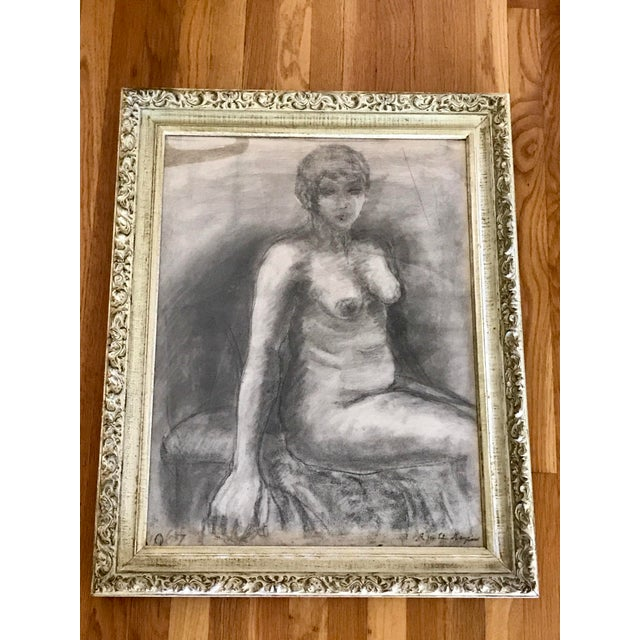 Mid-Century Framed Charcoal Nude Sketch For Sale - Image 10 of 10