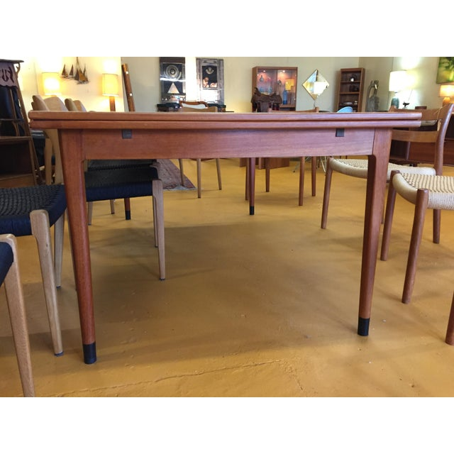 Large Teak Draw Leaf Dining Table by Niels Otto Møller for Jl Møller, Made in Denmark For Sale - Image 10 of 13