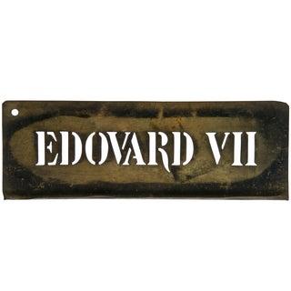 Vintage French Edovard VII Brass Stencil