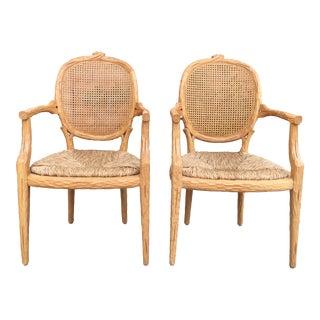 Faux Bois Arm Chairs - a Pair For Sale