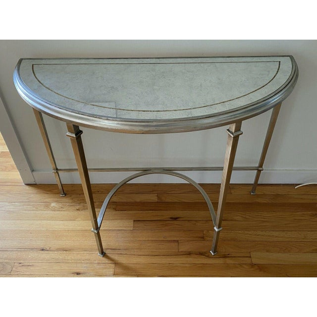 Silver Lillian August Wrought Iron and Glass Demilune Console Table For Sale - Image 8 of 8