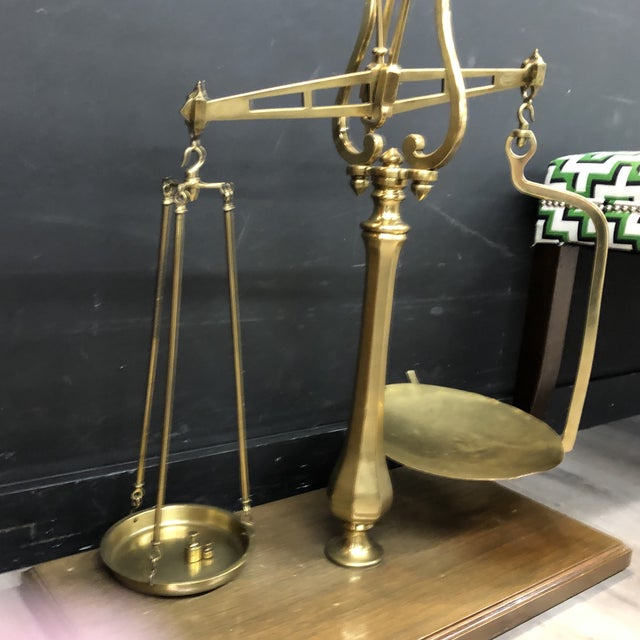 English Traditional Large Vintage Brass Scale With Weights For Sale - Image 3 of 12