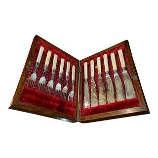 Bone & Silverplate Fish Set - Set of 12 For Sale