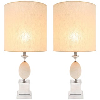 Pair of travertine Table Lamps Maison Barbier For Sale