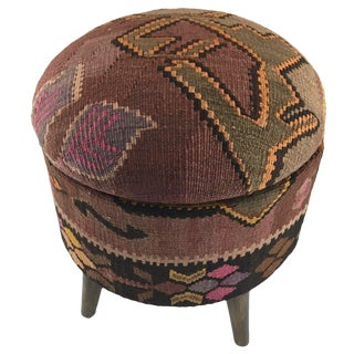 Deep Mauve Round Kilim Footstool With Storage For Sale