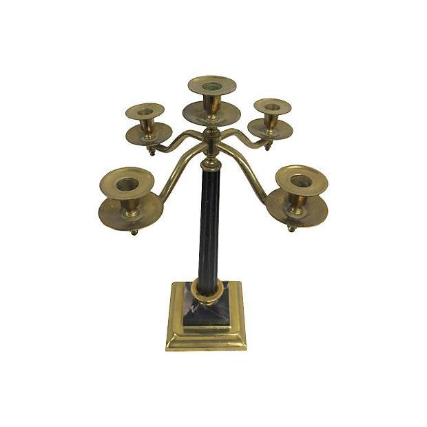 Brass and Marble Five Arm Candelabra - Image 1 of 3