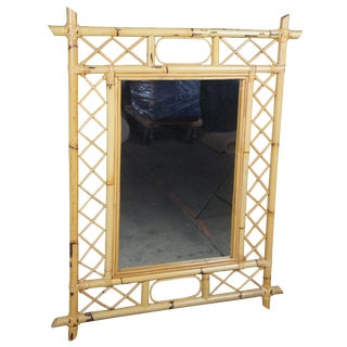 Vintage Hollywood Regency Style Bamboo Wall or Hall Accent Mirror For Sale