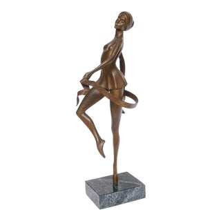 "Bronze Sculpture of Ballet Dancer, Titled ""Poised"", American, Bunny Adelman, 86'"