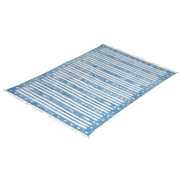 2010s Peppermint Rug, 8x10, Royal Blue & White For Sale - Image 5 of 5