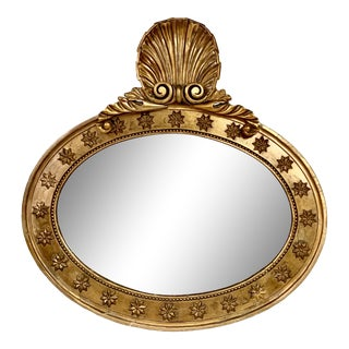 19th-C. Continental Carved Giltwood Shell Mirror For Sale