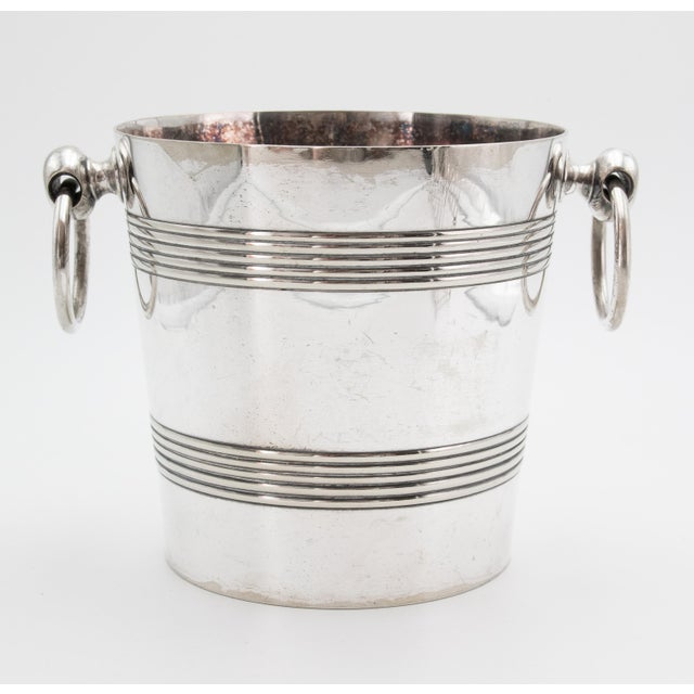 A fabulous 1940s Art Deco silver plated champagne bucket or wine cooler, made in Brussels, Belgium. Signed on reverse....