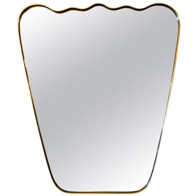 Italian Wavy Brass Mirror For Sale