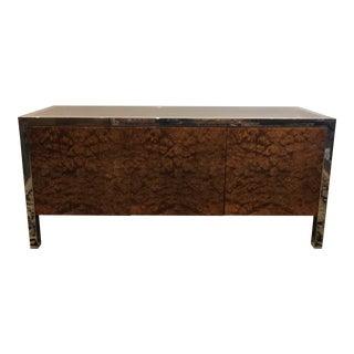 Olive Burl Stainless Credenza by Leon Rosen for Pace Collection For Sale