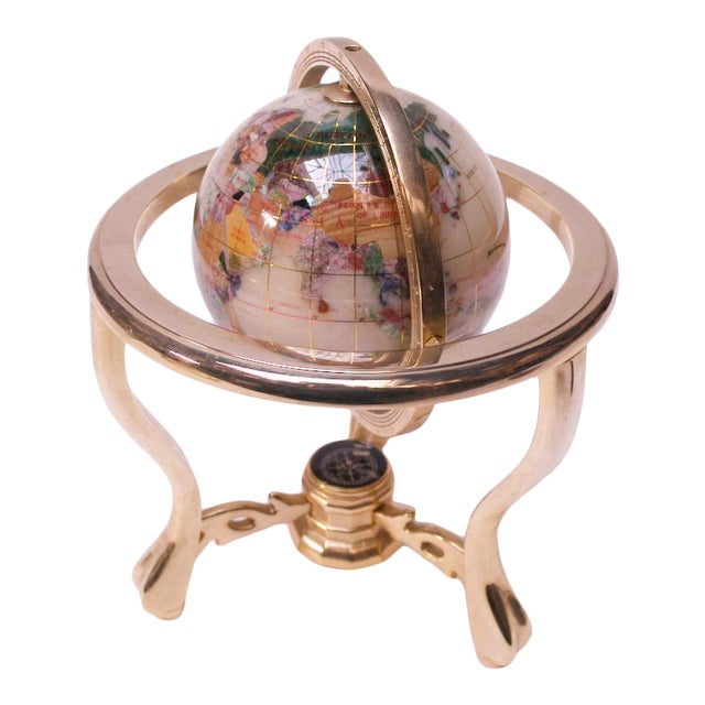 Contemporary Petite Desk Globe in Brass, Gemstones, and Mother of Pearl For Sale