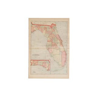 Cram's 1907 Map of Florida For Sale