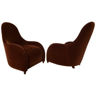 Brueton Mohair Sculptural Curved Modern Lounge Chairs- A Pair For Sale