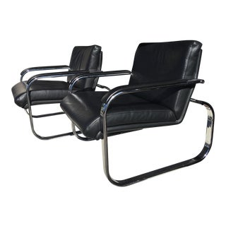 Milo Baughman Style Chrome Leather Lounge Chairs For Sale