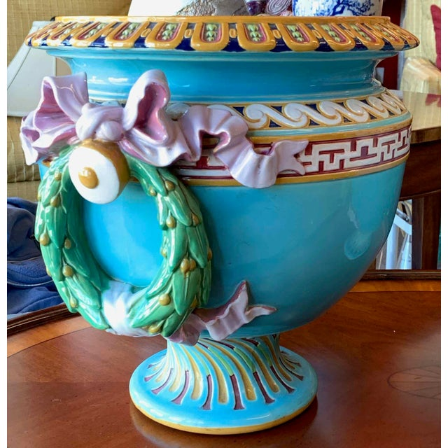 Late 19th Century Antique Minton Majolica Urns - a Pair For Sale - Image 5 of 13