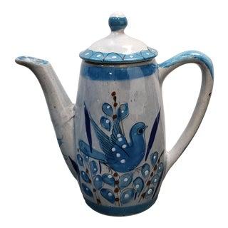 Vintage Circa 1970 Mexican Tonala Pottery Bird/Floral Motif Ceramic Coffee Pot For Sale
