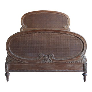 Antique French Provincial Cane Full Bedframe For Sale
