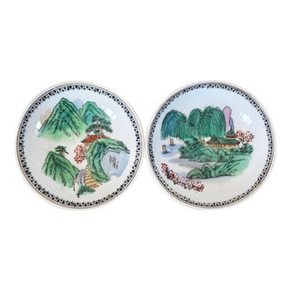 Porcelain Wall-Hanging Dishes - A Pair