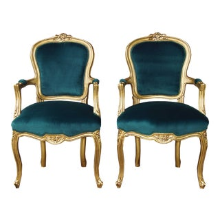 Vintage French Louis XV Chairs Green Velvet With Gold Frames - a Pair For Sale
