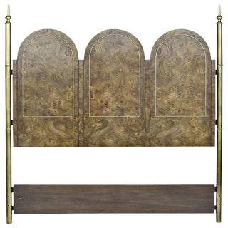 Art Deco Mastercraft Elegant Burled Amboyna and Brass Headboard For Sale