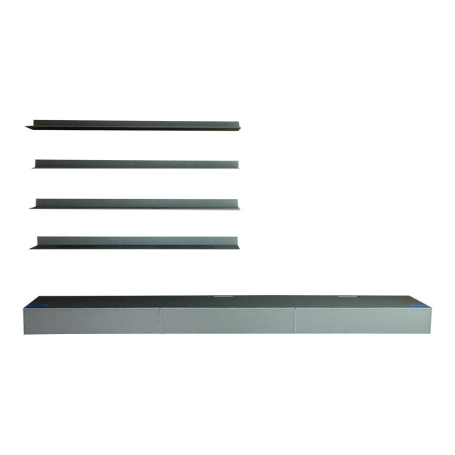 Rimadesio Abacus Wall Unit Shelves Drawers - Four Lighted Shelves And Three Touch Latch Drawers For Sale