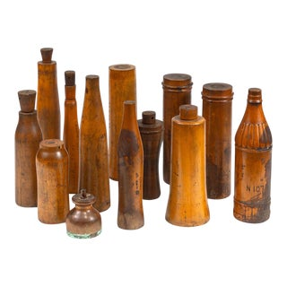 Wooden Bottle Molds From The John Lumb And Co. Glassworks - Set of 13 For Sale